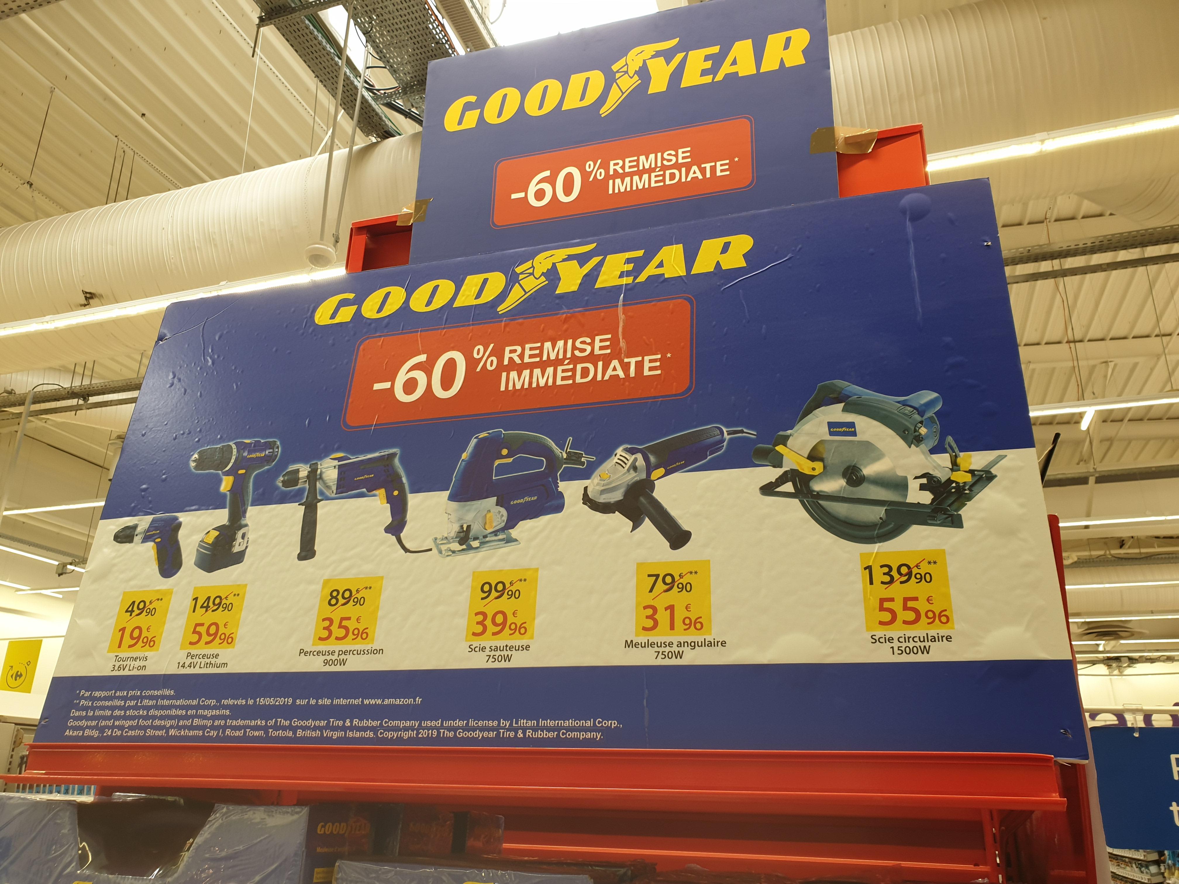 Sélection d'outils Goodyear à 60% de réduction - Ex : Perceuse sans fil 14.4 V Lithium ion (Carrefour Tarnos 40)
