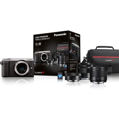 Kit Appareil photo Hybride Panasonic Lumix DMC-GX80 avec Objectifs 12-32mm + 35-100mm + 25mm f/1.7 et Carte SDHC 16 Go