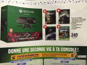 Pack Console Microsoft Xbox One 500 Go + Fallout 3 et 4 + Forza 6 + Minecraft + Gears Of War Ultimate Edition