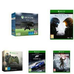 Pack console Microsoft Xbox One 500 Go + Fifa 16 + Halo 5 + Gears of War + Rise of the Tomb Raider + Forza 6 + 12 mois Xbox Live + Starter Pack + Manette Halo