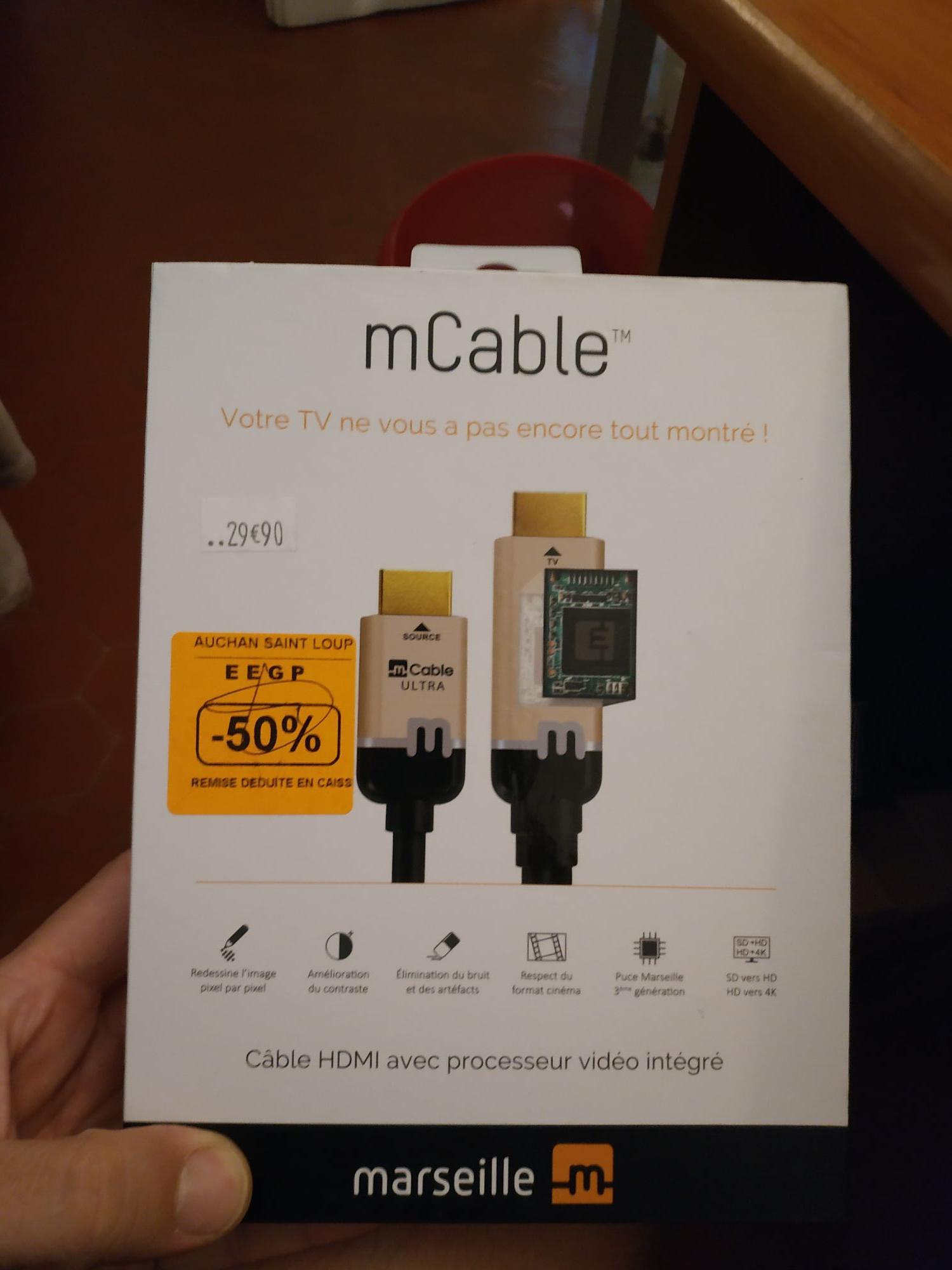Câble HDMI avec processeur vidéo intégré mCable (1m50) - Auchan Marseille Saint-Loup (13)