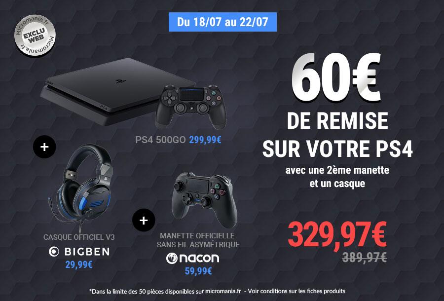 Console Sony PS4 (500 Go) + Casque Sony V3 + Manette sans-fil asymétrique Nacon