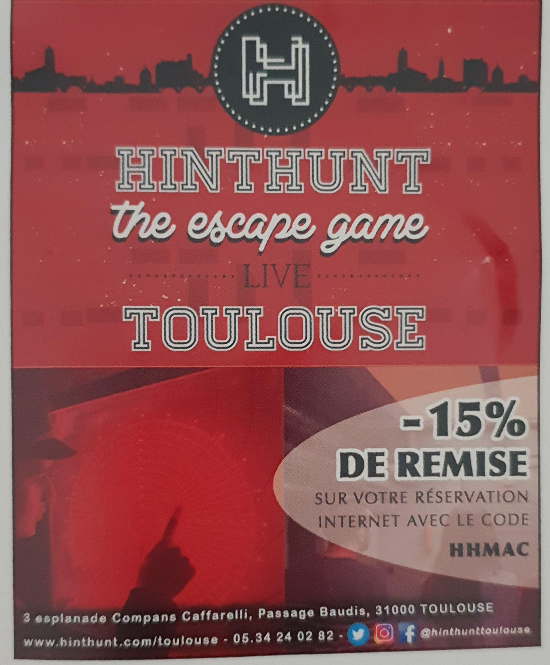 15% de remise sur l'escape Game - HintHunt Toulouse (31)