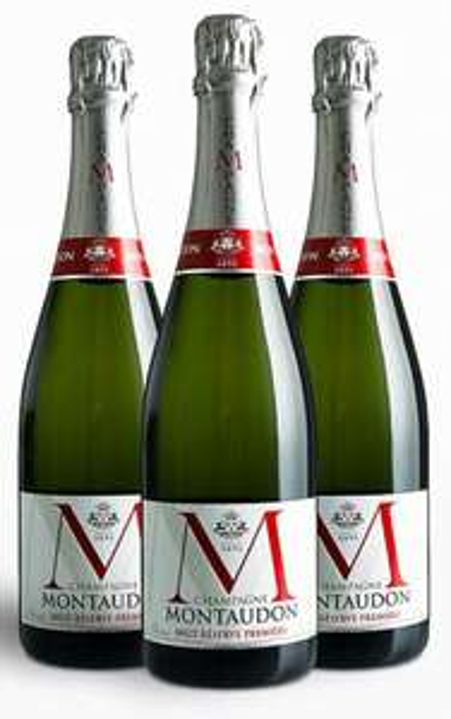 Lot de 3 bouteilles de Champagne Montaudon Brut Réserve Première Blanc