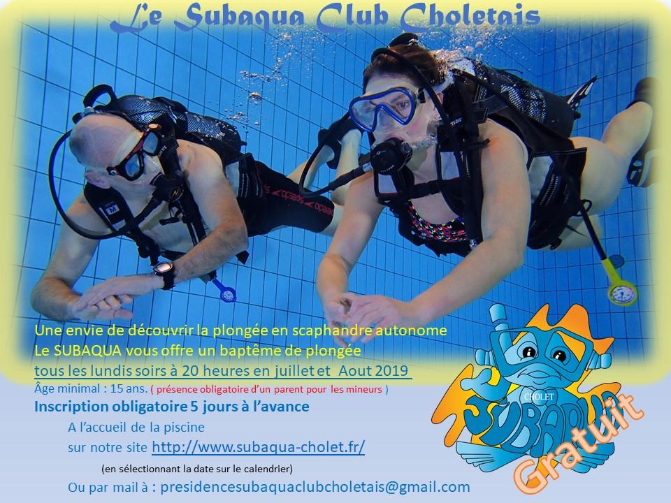 [Les lundis, à 20 h] Baptême de plongée gratuit - Subaqua Club Choletais (49)