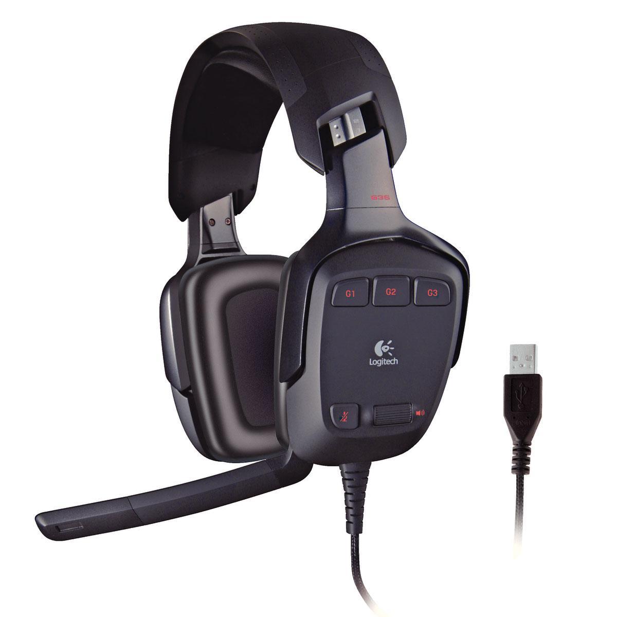 Micro-Casque Gaming 7.1 Logitech G35 S compatible PC et PS4 Noir