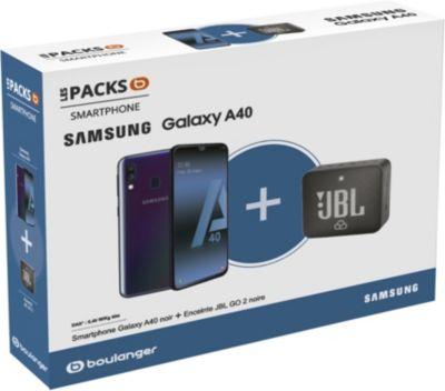 """Pack smartphone 5.9"""" Samsung Galaxy A40 (full HD+, Exynos 7904, 4 Go de RAM, 64 Go) + enceinte Bluetooth JBL GO 2"""