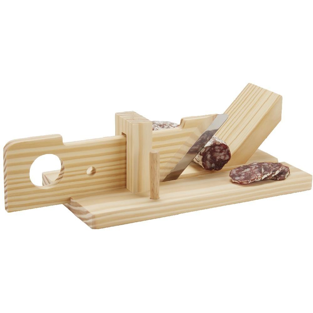 Trancheuse à saucisson en bois naturel et inox - 24 x 13 x 9 cm