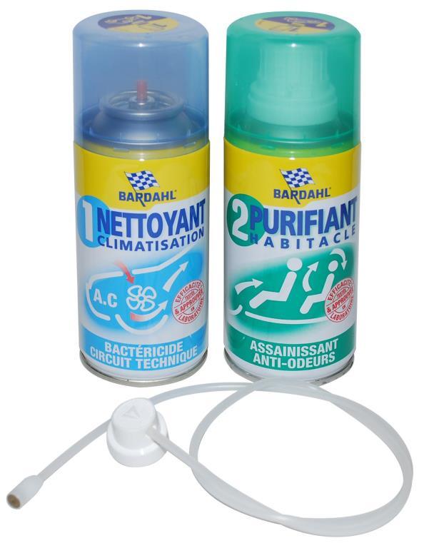 Lot de 2 Aérosols de Nettoyant Climatisation & Purifiant Habitacle Auto Bardhal 009095 - 2 x 125 ml