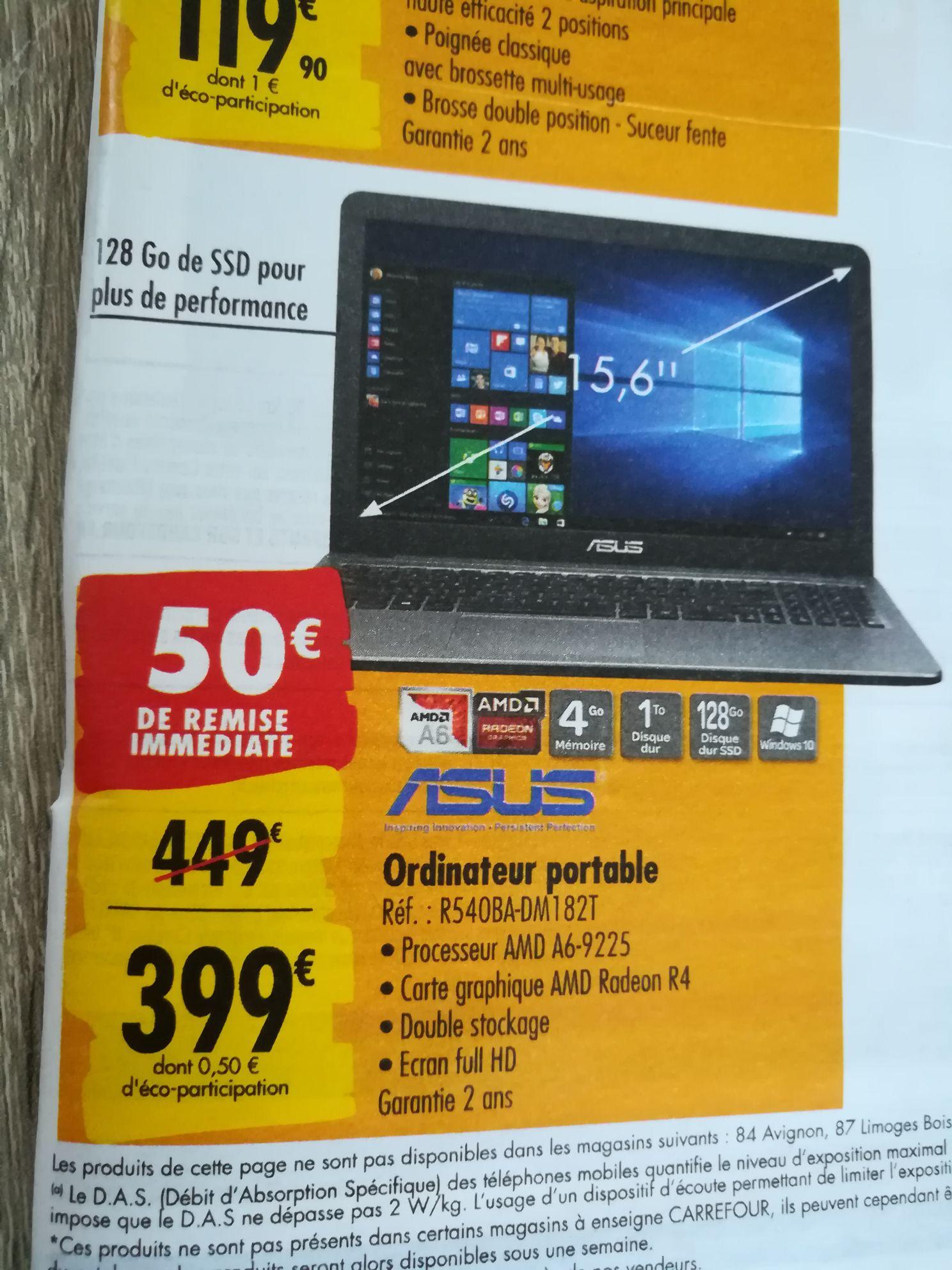 "PC portable 15.6"" full HD Asus R540BA-DM182T - A6-9225, Radeon R4, 4 Go de RAM, 1 To + 128 Go en SSD, Windows 10"
