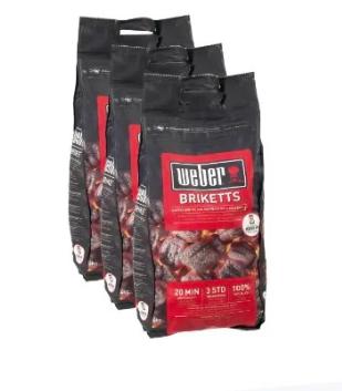 Lot de 3 paquets de briquettes de charbon de bois Weber - 3 x 4 kg
