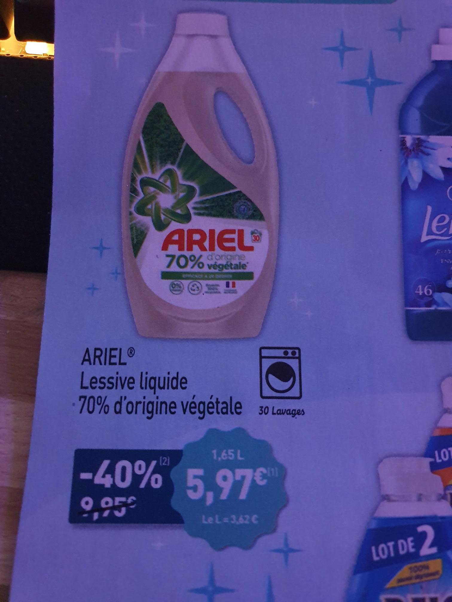 Bidon de Lessive Liquide Ariel 70% d'origine vegetale - 30 Lavages