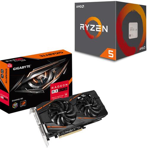 Pack processeur AMD Ryzen 5 2600 (3.4 GHz) + carte graphique Gigabyte Radeon RX 590 Gaming (8 Go) + abonnement de 3 mois au Xbox Game Pass