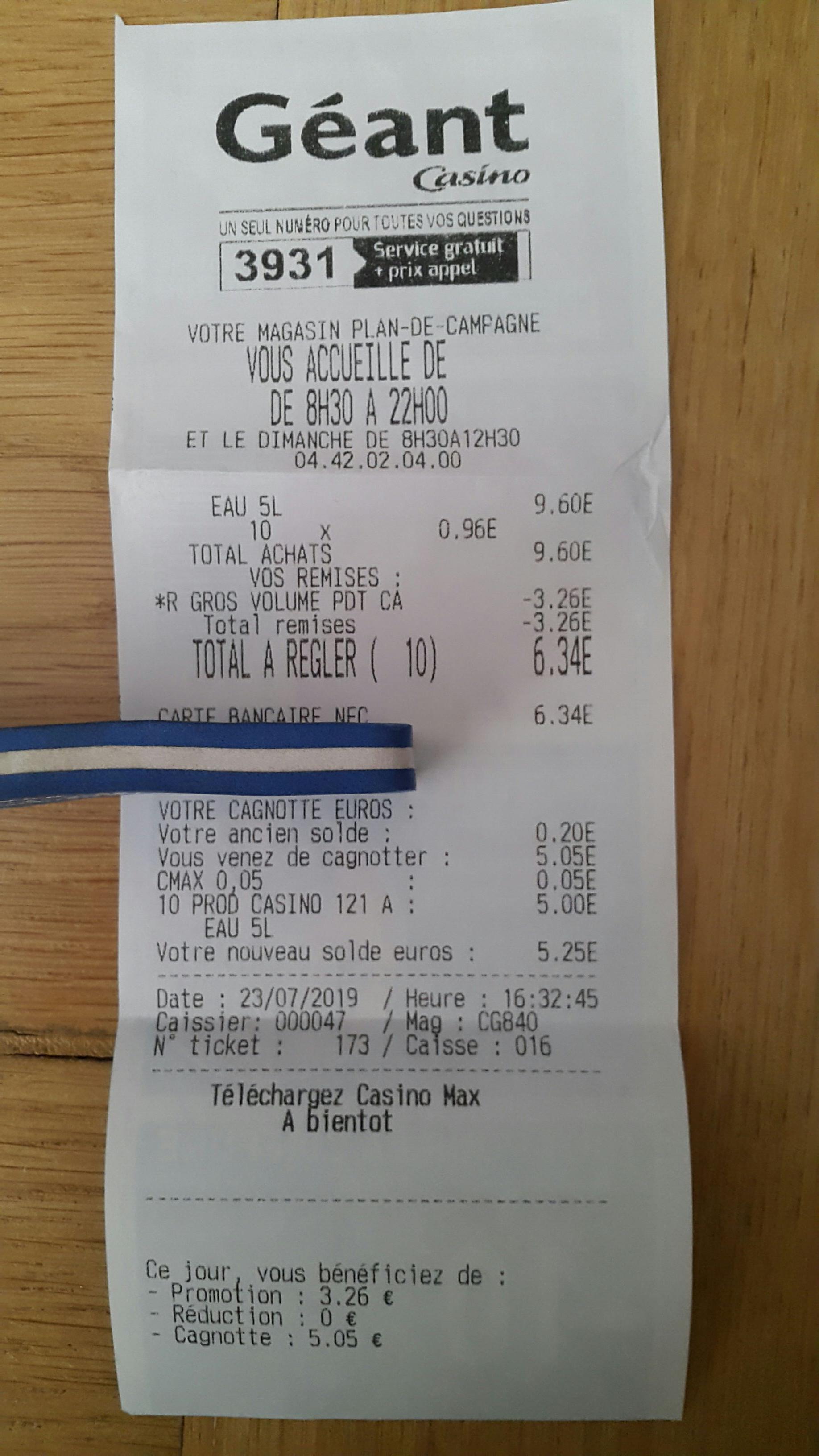 Lot de 10 bonbonnes d'eau de source de montagne des Écrins Casino - 10x5 L (via 5€ sur la carte de fidélité) - Les Pennes-Mirabeau (13)