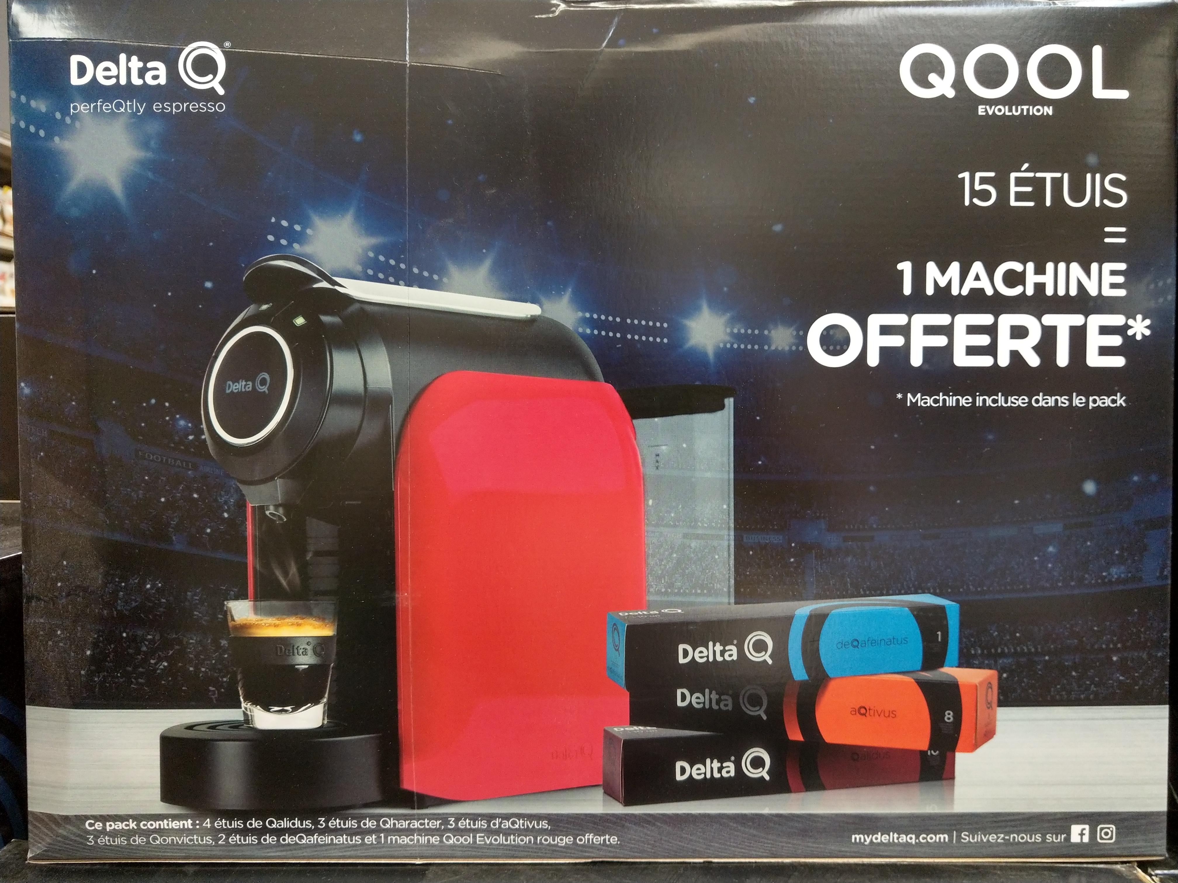 Pack machine à café Delta Q Qool Evolution + 15 étuis de 10 capsules de café Delta (150 capsules) - Montesson (78)