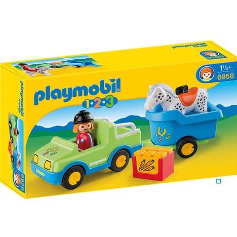 Playmobil 6958 - 1.2.3 - Véhicule avec remorque à cheval
