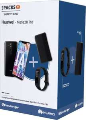 "Pack smartphone 6.3"" Huawei Mate 20 Lite (full HD+, Kirin 710, 4 Go de RAM, 64 Go) + bracelet connecté Huawei Band 3e + protection View Flip"
