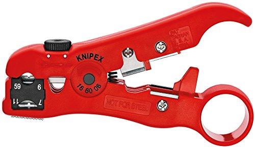Outil de dénudage pour câbles coaxiaux et de données Knipex 16 60 06 SB -  125 mm, Rouge