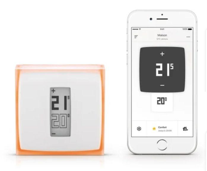 Thermostat Connecté Netatmo by Starck NTH01-FR-EC pour Chaudières Individuelle