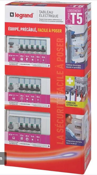 Tableau électrique équipé et précâblé Legrand - 3 rangées 39 modules -  Bron (69)