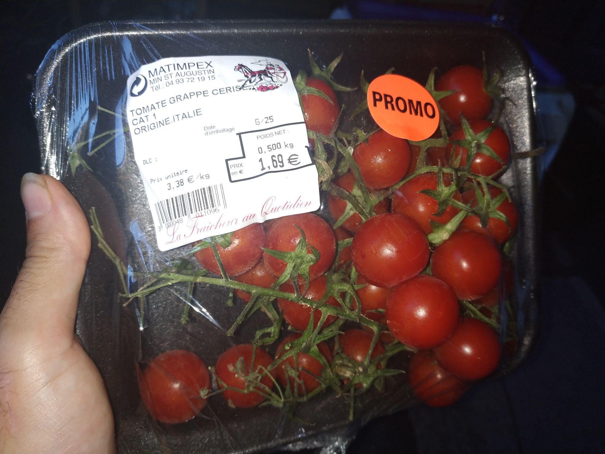 Barquette de tomates grappes cerises Matimpex (500 g, cat. 1, origine Italie) - Nice Madeleine (06)