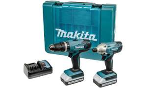 Coffret Makita Sans-fil DK18015X1 18V - Perceuse à Percussion + Perceuse à Chocs + 2 Batteries