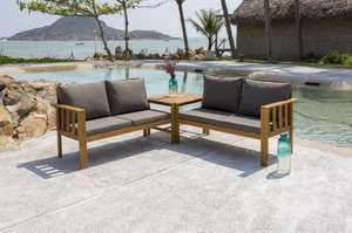 Salon de jardin 4 places : 1 table + 2 banquettes avec coussins - En ...