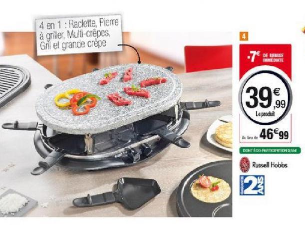Appareil à raclette / pierrade 4 en 1 Russell Hobbs + 3 nuits d'hôtel en France ou en Angleterre (via ODR, dîners à prendre à l'hôtel)