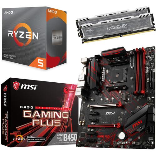 Kit d'évolution PC - processeur Ryzen 5 3600 (3.6 GHz) + carte-mère MSI B450 Gaming Plus + kit de RAM Ballistix Sport LT (16 Go)