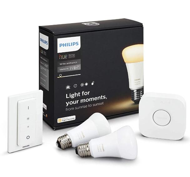 Kit de Démarrage Philips Hue : 2 Ampoules E27 + Pont et Interrupteur avec Variateur - Lumière Blanche