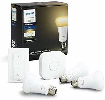 Kit de démarrage Philips Hue : 3 Ampoules LED E27 + Pont + Interrupteur