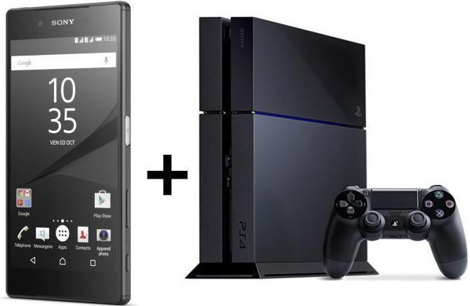 "Smartphone 5.2"" Sony Xperia Z5 Double Sim Noir + Console Sony PS4 500 Go  (Via ODR 70€)"