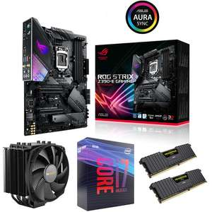 Kit évo PC Processeur Intel Core i7-9700K + CM Asus ROG STRIX Z390-E Gaming + Ventirad BQ ! Dark Rock 4 + RAM 16 Go Vengeance LPX (3000 Mhz)