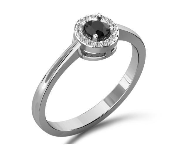 Bague Victoria's Candy diamants noirs et blancs sur monture en argent 925/00