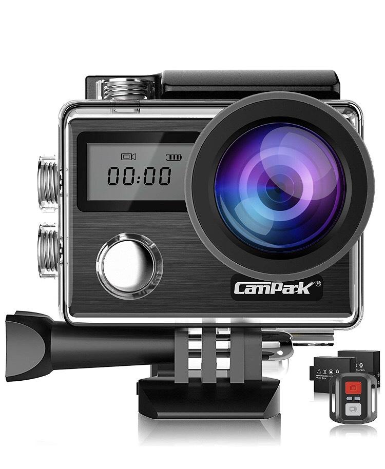 Pack caméra sportive Campark X20 (4K UHD, 20 Mpix, étanche, Wi-Fi) + télécommande + 2 batteries + kits d'accessoires (vendeur tiers)