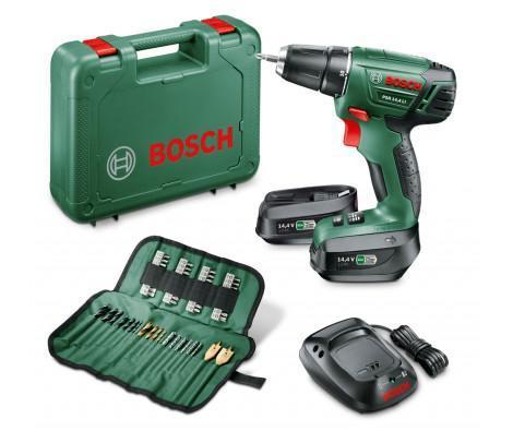 Coffret Perceuse visseuse sans fil Bosch PSR 14.4 Li + 2ème batterie + set de 59 accessoires offert (via ODR 40€)