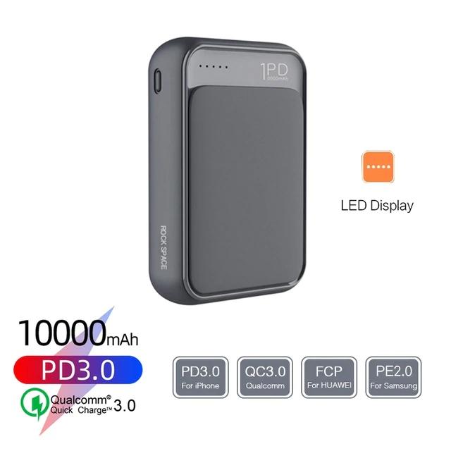 Batterie externe Rock P65 Mini (10000 mAh, QC 3.0 et PD 3.0 in/out 18W, USB type C + micro-USB)