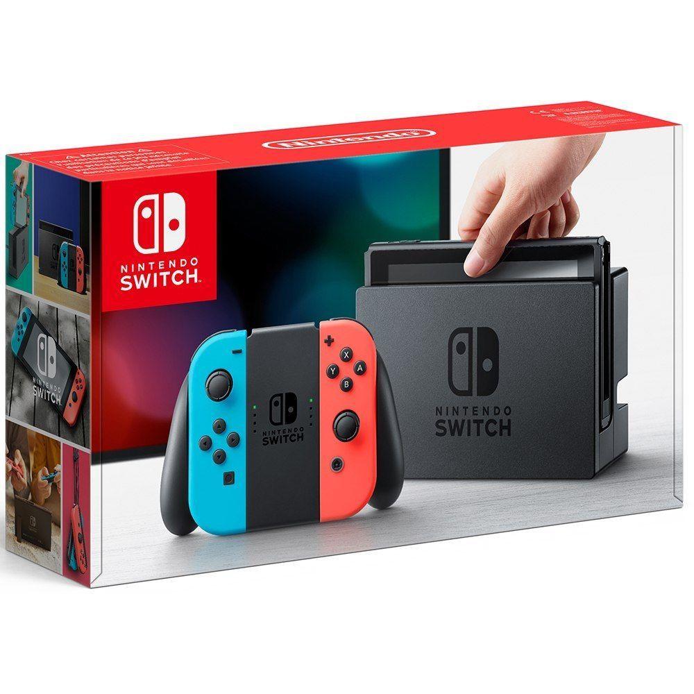 Console Nintendo Switch avec Joy-Con rouge fluorescent et bleu néon + 27.78€ en SuperPoints (257,79€ avec le code RAKUTEN20)