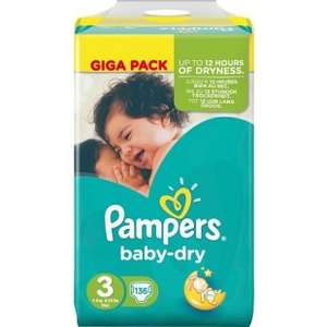 Couches Pampers Baby Dry Taille 3 - 136 Couches