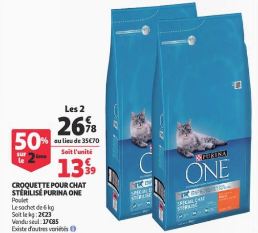 Lot de 2 sacs de Croquettes pour chat stérilisé au Poulet Purina One - 2x 6kg