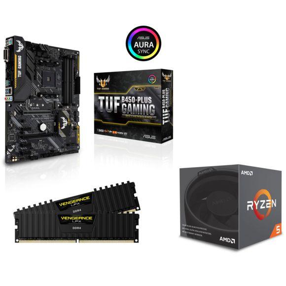 Processeur Ryzen 5 2600 + Carte mère TUF B450-Plus Gaming + Kit RAM Vengeance LPX - 16 Go (2 x 8 Go) DDR4, 3000 MHz, CAS15