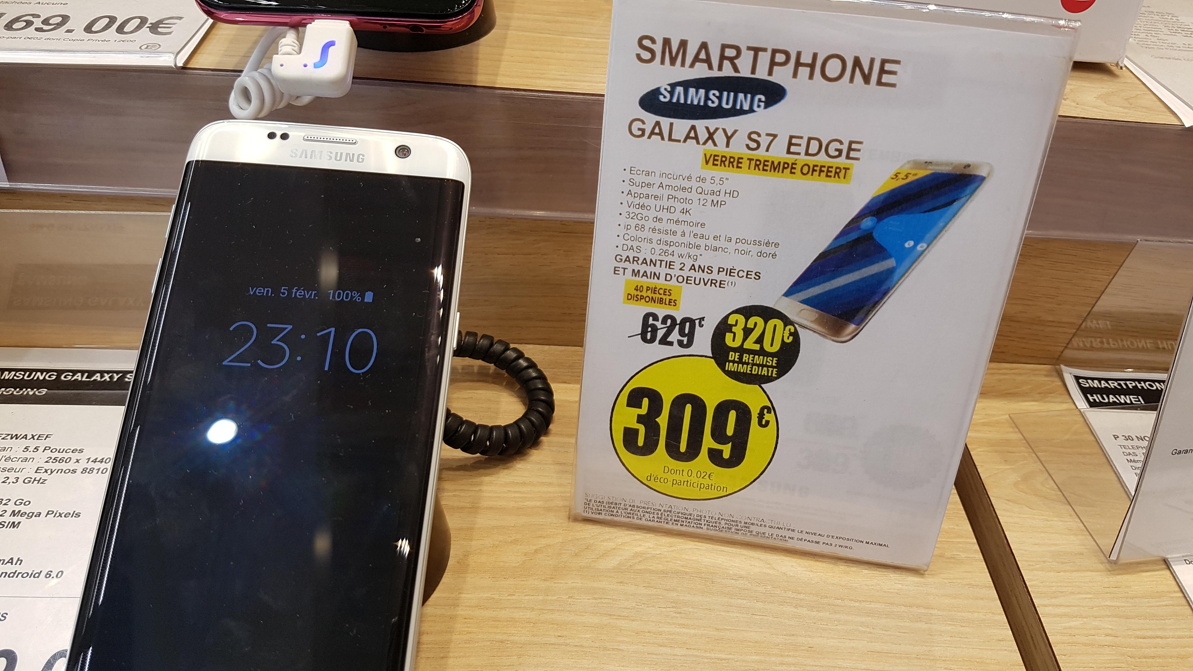 """Sélection de Smartphones en promotion - Ex: Smartphone 5.5"""" Samsung Galaxy S7 Edge + Verre Trempé - Kergaradec (29)"""