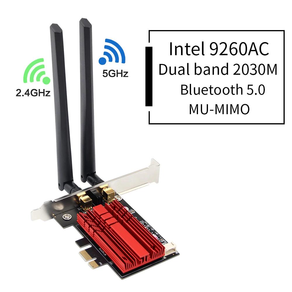 Carte réseau Wi-FI fenvi - Intel 9260AC 802.11ac 2.4G/5Ghz avec Bluetooth 5