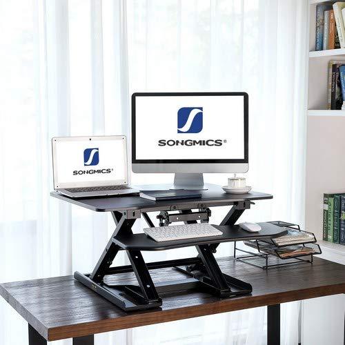Support bureau assis/debout réglable en hauteur Songmics -noir, 80x62 cm, système de verrin autobloquant, charge max : 15 kg (Vendeur tiers)