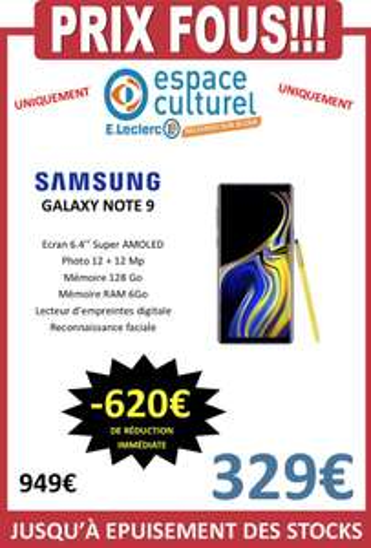 "Smartphone 6.4"" Samsung Galaxy Note 9 (QHD+, Exynos 9810, RAM 6 Go, ROM 128 Go) - Bellerive-sur-Allier (03)"
