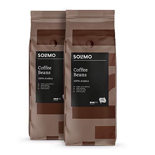 Lot de 2 paquets de café en grains Amazon Solimo - 2 x 1 Kg (8.46€ avec le code PROMO20S2 sous abonnement)