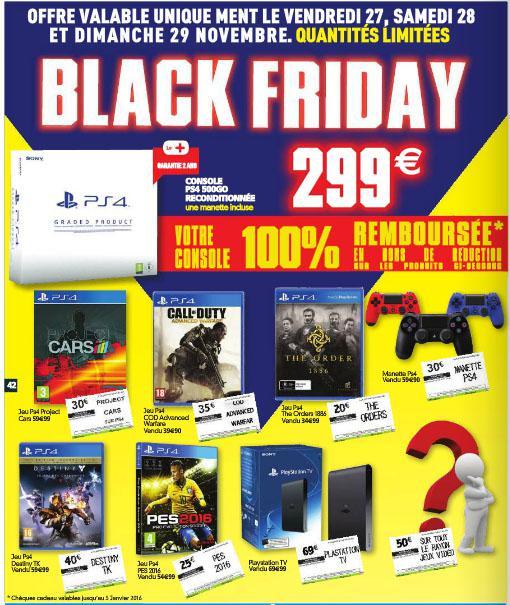 Console Sony PS4 500Go Reconditionné + 299€ remboursés en bons d'achat valables sur une sélection de produits