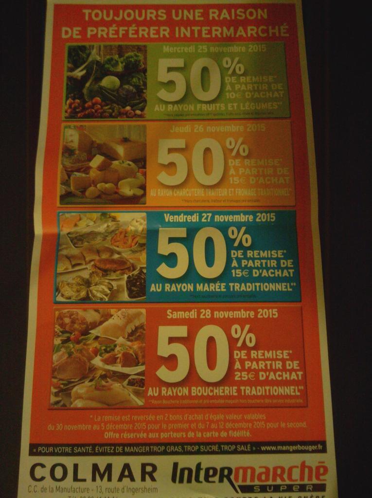 -50% sur le rayon Marée dès 15€ d'achat le 27/11 et -50% sur le rayon Boucherie dès 25€ d'achat le 28/11 en bon d'achats