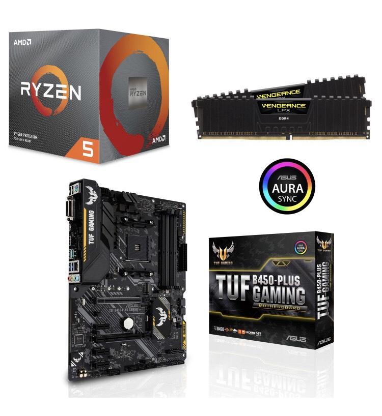 Processeur AMD Ryzen 5 3600 avec Wraith Stealth Cooler + Carte-mère TUF Gaming B450-Plus + Kit Mémoire DDR4 Vengeance LPX 16Go (2x8Go)