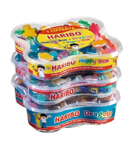 Lot de 3 boîtes de friandises Haribo Dragolo + Habby Box + Pik Box - 1.9 kg